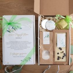 PREZENT dla Przyszłej Mamy Baby Shower Z IMIENIEM Eukaliptusowy Czekolada i sól MAŁY