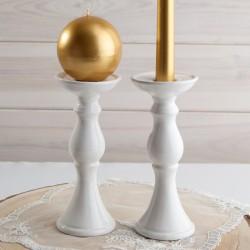 ŚWIECZNIK ceramiczny 2w1 na świece proste, pieńkowe i kule 20cm NEW