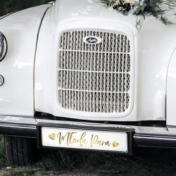 TABLICE rejestracyjne ślub ze złotym napisem Młoda Para