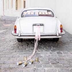DEKORACJE na samochód ślubny ZESTAW JASNORÓŻOWY
