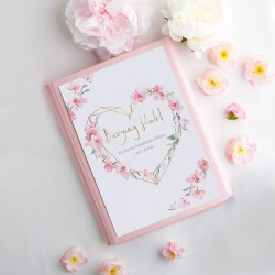 TECZKA na dokumenty ślubne Z IMIONAMI Kwiatowe Serce Różowa