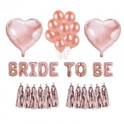 ZESTAW balonów na panieński ROSEGOLD różowe złoto GIGA