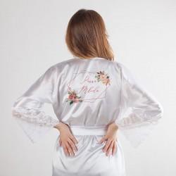 SZLAFROK ślubny dla Panny Młodej koronka LUX uniwersalny Rosegold Flowers