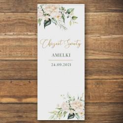 DEKORACJA sali na Chrzest personalizowana + listwa 60x150cm Białe Kwiaty