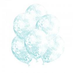 BALONY transparentne + papierowe konfetti koła 30cm 10szt BŁĘKITNE