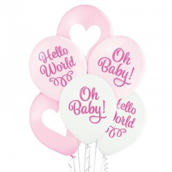 BALONY na Chrzest i Baby Shower dziewczynki Oh Baby 6szt