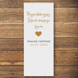 ŚCIANKA za Parą Młodą baner + listwa 60x150cm Dziękuję z sercem