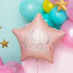 BALON foliowy urodzinowy gwiazda 40cm Happy Birthday JASNY RÓŻ