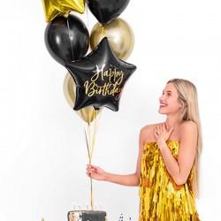 BALON foliowy urodzinowy gwiazda 40cm Happy Birthday CZARNY
