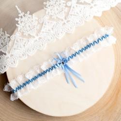 PODWIĄZKA ślubna biała z kwiatkiem (D05)