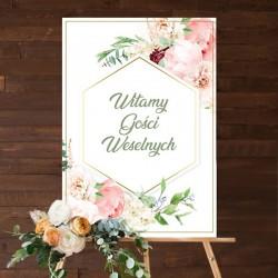 PLAKAT Witamy Gości Weselnych 34x48cm Kwiaty