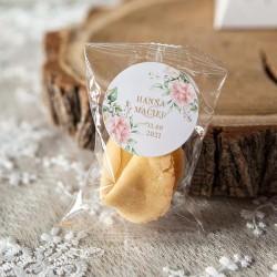 CIASTECZKO z wróżbą wesele Pudrowe Kwiaty (+etykiety z imieniem) 10szt