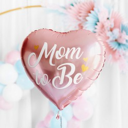 BALON na Baby Shower foliowy Mom to Be SERCE 35cm Różowy