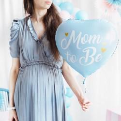 BALON na Baby Shower foliowy Mom to Be SERCE 35cm Niebieski