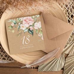 ZAPROSZENIA na 18 urodziny Pudrowe Kwiaty 10szt (+koperty kraft)