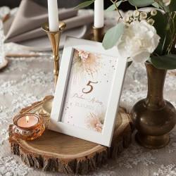 NUMEREK na stół wesele z imionami Pampas Boho