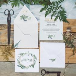 ZAPROSZENIE ślubne Liście Paproci (+koperta z wnętrzem+naklejka)