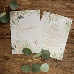 ZAPROSZENIE ślubne dwustronne Z IMIONAMI Białe Kwiaty