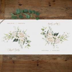 BIEŻNIK na Chrzest Z IMIENIEM Białe Kwiaty 42cmx5m