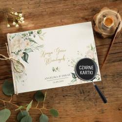 KSIĘGA GOŚCI czarne kartki fotobudka Z IMIONAMI Białe Kwiaty (+sznurek jutowy)