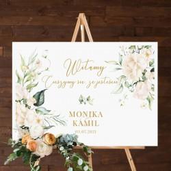 PLAKAT tablica powitalna na wesele 50x70cm Białe Kwiaty