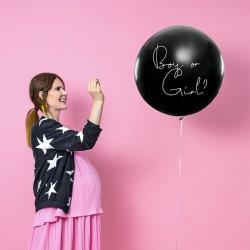 BALON na Baby Shower Boy or Girl - DZIEWCZYNKA z różowym konfetti 1m