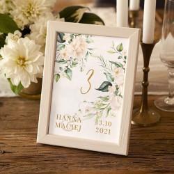 NUMEREK na stół wesele z imionami Białe Kwiaty