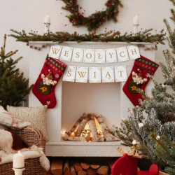 BANER świąteczny Wesołych Świąt BIAŁO-ZŁOTY