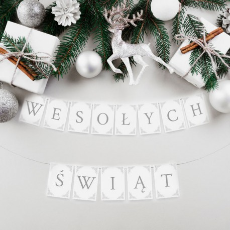 BANER świąteczny Wesołych Świąt BIAŁO-SREBRNY