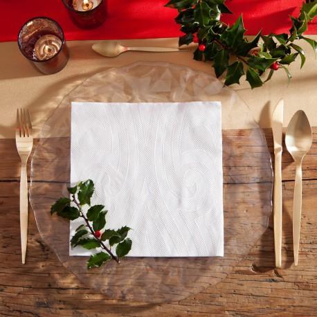 SERWETKI świąteczne tłoczone Lily Białe Elegance 40szt