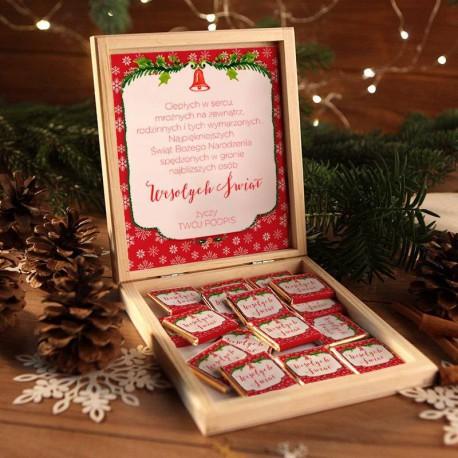 CZEKOLADKI na prezent świąteczny w pudełku TWÓJ PODPIS Czerwone Święta 12 sztuk