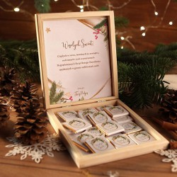 CZEKOLADKI na prezent świąteczny w pudełku TWÓJ PODPIS Świąteczny Nastrój 12 sztuk