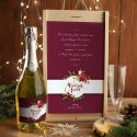 ZESTAW Z WINEM MUSUJĄCYM świąteczny firmowy w skrzyni z kieliszkiem Eleganckie Święta Z LOGO