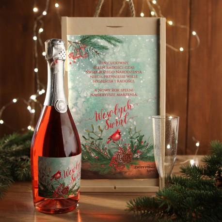 ZESTAW Z WINEM MUSUJĄCYM świąteczny firmowy w skrzyni z kieliszkiem Wesołe Święta Z LOGO
