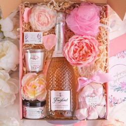 KOSZ prezentowy świąteczny Z PODPISEM Wino kryształowe Róż MEGA LUX