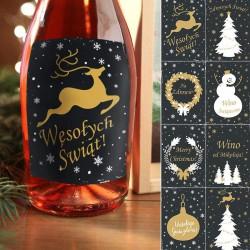 ETYKIETY na butelki świąteczne Black&Gold komplet 8szt