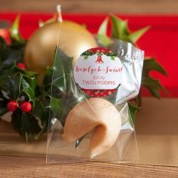 CIASTECZKO świąteczne z wróżbą Z TWOIM PODPISEM Czerwone Święta