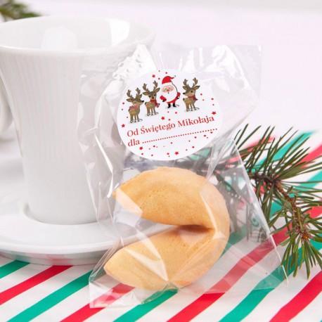 CIASTECZKO świąteczne z wróżbą dla dzieci Mikołaj i renifery 10szt