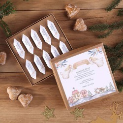 PREZENT świąteczny Pudełko z krówkami Z TWOIM PODPISEM Aniołki KRAFT