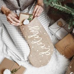 SKARPETA na prezenty świąteczne jutowa z napisem Daddy