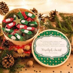 KOSZ prezentowy świąteczny firmowy z krówkami Z NAZWĄ Red&Green