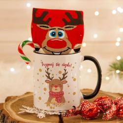 KUBEK świąteczny na prezent ZE SKARPETAMI Renifer Z IMIENIEM