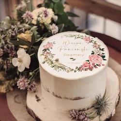 OPŁATEK na tort Panieński Rustykalny Wianuszek Z IMIENIEM Ø20cm