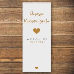 DEKORACJA sali na Komunię personalizowana + listwa 60x150cm Złote Serce