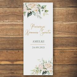 DEKORACJA sali na Komunię personalizowana + listwa 60x150cm Białe Kwiaty