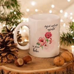 PREZENT dla Babci kubek z Kwiatami 330ml Z PODPISEM