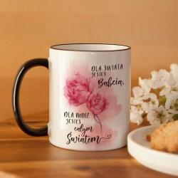 PREZENT dla Babci kubek Kwiaty 330ml Z IMIENIEM