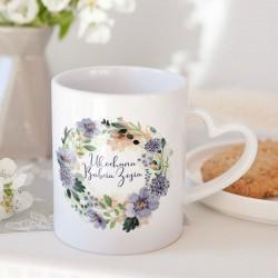 PREZENT dla Babci kubek Fioletowe Kwiaty 330ml Z IMIENIEM
