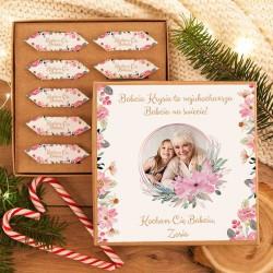PREZENT dla Babci Pudełko z krówkami ZE ZDJĘCIEM Różowe Kwiaty