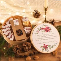 KOSZ prezentowy świąteczny firmowy w pudełku Z NAZWĄ Poinsecja